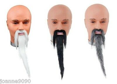 Mens Fancy Dress Costume Moustache Tash and Long Oriental Chinese Wizard Beard