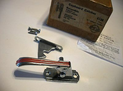 "Vtg NOS CHROME Hoosier Cupboard Door Latch RED Lines Left Right 3/8"" offset"