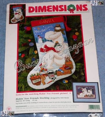 Dimensions MAKING NEW FRIENDS Snowmen Stocking Needlepoint Christmas Kit - 9122