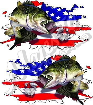 BASS USA - 450mm x 250mm X 2 - BOAT DECALS