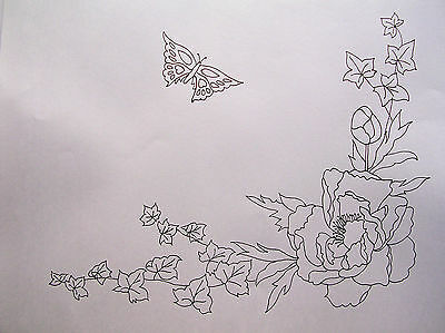 Tablecloth printed to embroider lace flowers Peony Butterfly cotton CSOO85