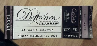 Unused ticket THE DEFTONES w Glass jaw December 17th 2006