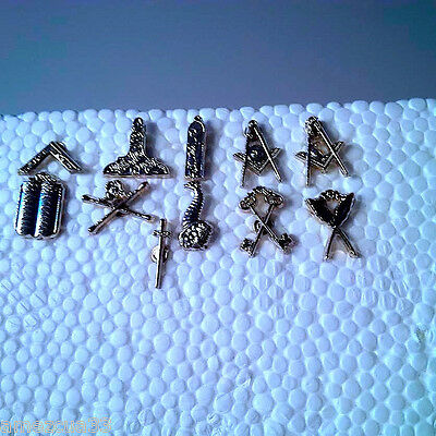 11 Blue Lodge officers  Small Pin Silver Finish NMS