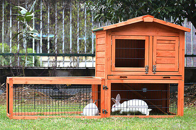 Rabbit Hutch - 2 Storey Guinea Pig Cage w/ TRAY Chicken Hen House Ferret cage