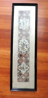 Antique Chinese Silk Tapestry Framed Under Glass 19th century Embroidery