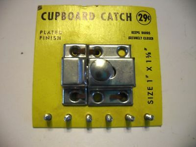 Vintage NOS CHROME Cupboard Cabinet Door Catch Thumb Latch Spring loaded Knob