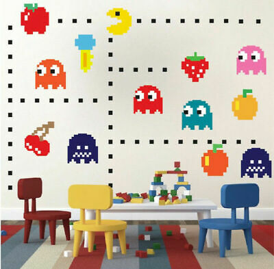 Retro Pacman Game Pac-man Wall Art Sticker Removable Nursery Decor Kid Decal DIY