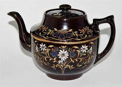 K & B England - HAREBELL - Dark Brown Stoneware - Antique Hand Painted Tea Pot