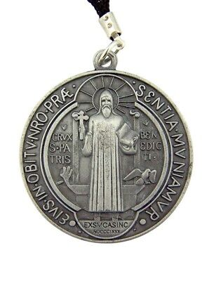 """Saint Benedict of Nursia Protection from Evil Medal 1 3/4"""" Pendant on 28"""" Cord"""