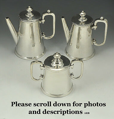 Beautiful Antique Three (3)-Piece American Silverplated Teapots & Sugarbowl Set