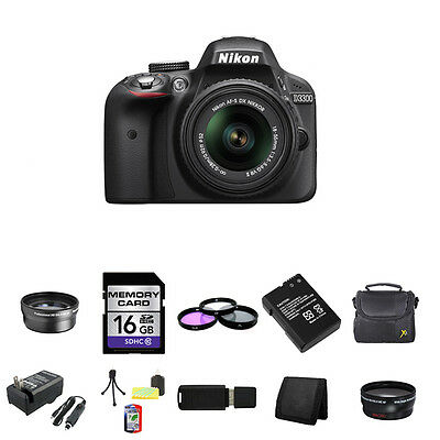 Nikon D3300 Digital SLR Camera - Black w/18-55mm Lens 16GB Package