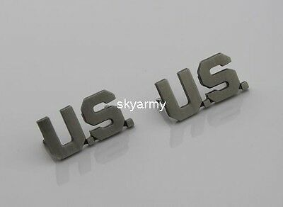 US ARMY OFFICER U.S. COLLAR BADGE INSIGNIA Ancient silver--PAIR