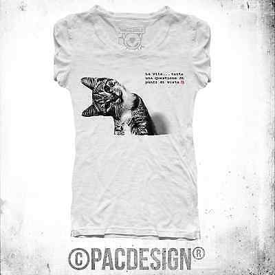 T-Shirt Donna Be Cat Gatto Point Of View Why So Happiness Bediff