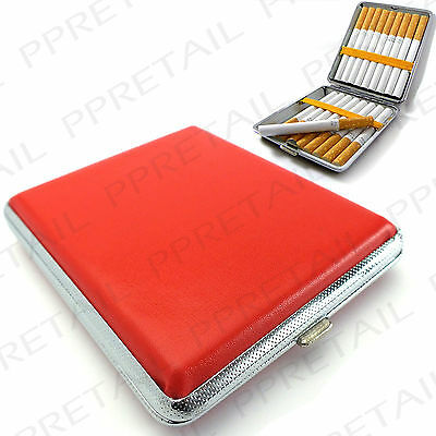 RED FAUX LEATHER & CHROME POCKET CIGARETTE TIN Smoke Roll Ups Protector Box