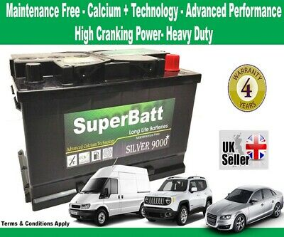 OEM Replacement Car/Van Battery SuperBatt TYPE 100 - 12V 75AH 700A - 4 Yrs Wrnty
