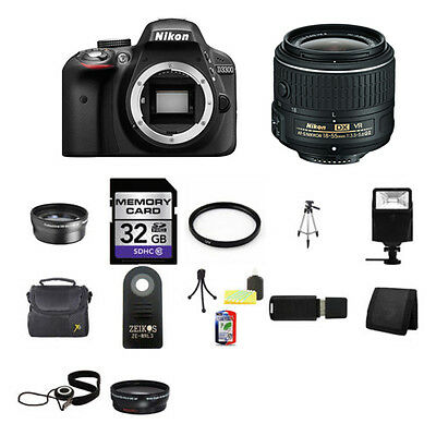 Nikon D3300 Digital SLR Camera - Black w/18-55mm Lens 32GB Best Value Kit