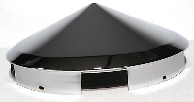 """hub cap front 5 even notch cone pointed chrome for aluminum wheel 1"""" lip each"""