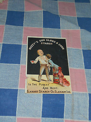 Old Tradecard Muzzy's Sun Gloss & Corn Starch Elkhart Starch Co Ind Surface Wear