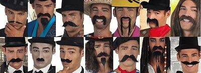Fancy Dress Black Self Adhesive Fake Beard and Moustache Tash Costume Accessory