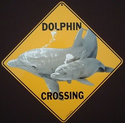 DOLPHIN  CROSSING Sign aluminum picture decor painting home dolphins novelty