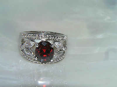 Estate Wide Oval Ruby Red Rhinestone with Clear Leaf Accents Silvertone Ring