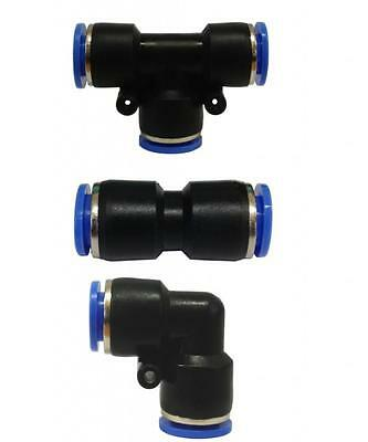 Push fit speed quick couplings T piece equal straight Elbow 90 degree fittings