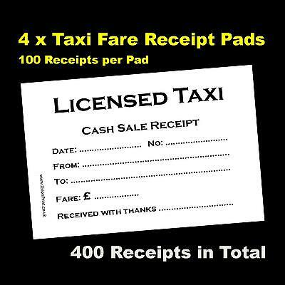 4 Pads of 100 Licensed Taxi / Minicab Receipts - 400 Receipts in Total, FREE P&P