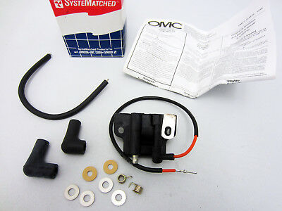 Johnson/Evinrude/OMC New OEM Ignition Coil, Spark Plug Wire & Boot Kit 584561