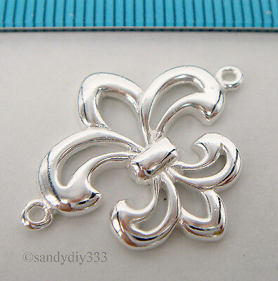 1x BRIGHT STERLING SILVER FLOWER LINK CONNECTOR BEADS #1219