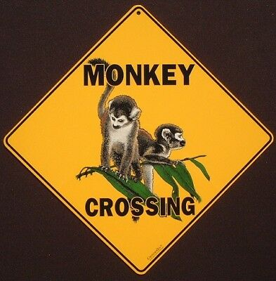 MONKEY CROSSING Sign aluminum primate picture decor ape novelty  home animals