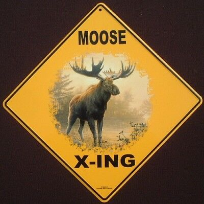 MOOSE X-ING Sign aluminum art decor hunting signs animals novelty home wildlife