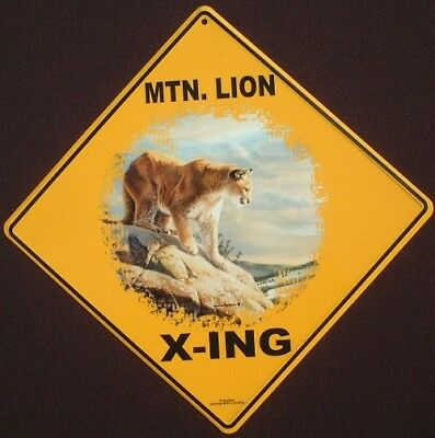 MTN. LION  X-ING Sign aluminum cougar  decor cats panther painting picture home