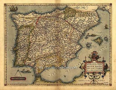 NEW A1 Spain España Iberia Portugal Majorca Reproduction Old Spanish Antique Map