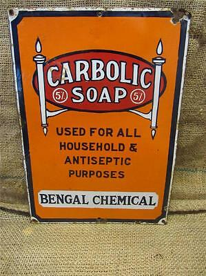 Vintage Porcelain Carbolic Soap Sign > Antique Old Signs Advertising 8608