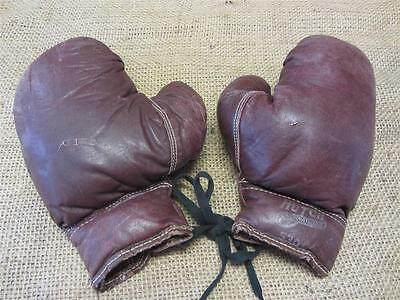 Vintage Hutch Leather Boxing Gloves > Antique Old Sports Ring Fight Childs 8605