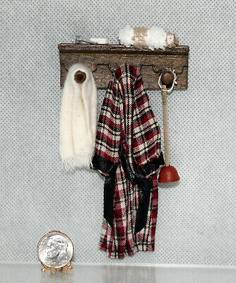Dollhouse Miniature Bathrobe, Towel, Plunger on Wood Wall Rack