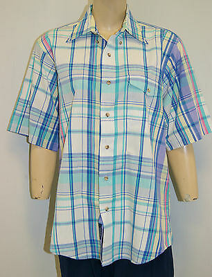 Vintage 70's GANT FoxHunt Plaid Cotton Short Sleeve Shirt - Size Large