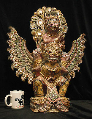 Rare Antique Traditional Indonesian Temple Wood Carving Vishnu Riding Garuda 26""
