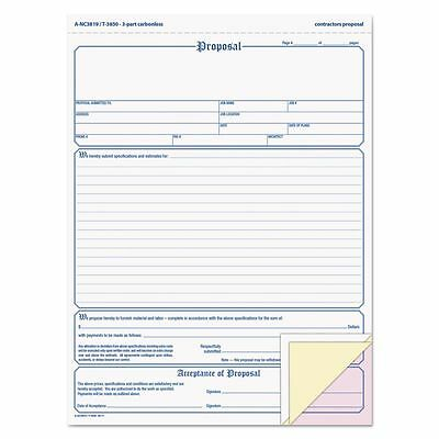 Adams Contractor Proposal Form, 3-Part Carbonless, 8 1/2 x 11 7/16, - ABFNC3819