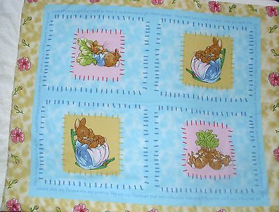 Beatrix Potter Mrs Bunny , Peter Rabbit  and the  flopsy Bunnies cot quilt