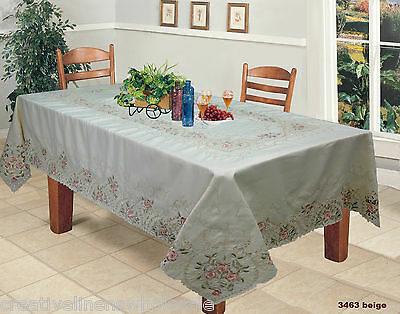"""Spring Embroidered Pink Rose Floral Tablecloth 70x120"""" &12 Napkins #3463"""