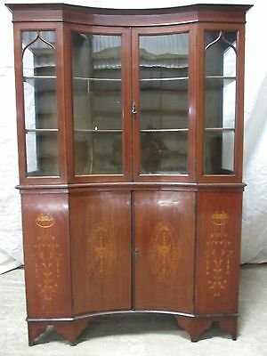Superb Edwardian Mahogany inverted breakfront 2 part display cabinet (ref 169F)
