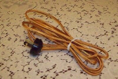 8' Gold Rayon Lamp Cord and Bakelite Style Plug