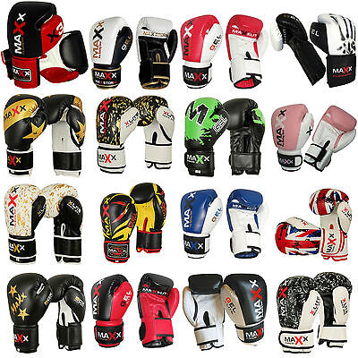 New Maya Grain Leather Gel BOXING GLOVES MAXX Muay Thai Grappling Pad MMA Punch