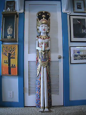 Lifesize Balinese Dewi Sri Huge 5'-10 (178 cm) Wood Carving Colorful 1970's Rare