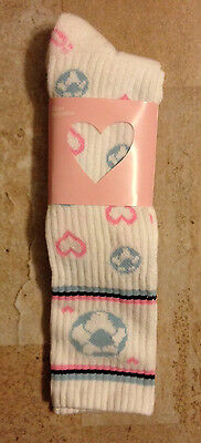Urban Outfitters GIRLS  SOCCER socks  9-11 NEW pink & blue & white HEARTS BALLS