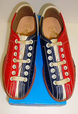 Girls Lace to ToeYouth Bowling Shoes RH/LH Red & Blue Leather Soles FREE SHIP