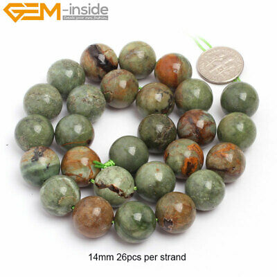 """14mm Natural Round Green Opal Stone Loose Beads For Jewelry Making 15"""" Big Size"""