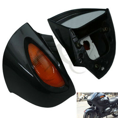 Pair Rear View Mirrors With Turn Signal For BMW R1100RT R1100 RTP R1150 RT Black