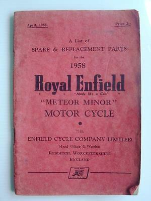 ROYAL ENFIELD METEOR MINOR - Motorcycle Spares List - 1958 - #M-658